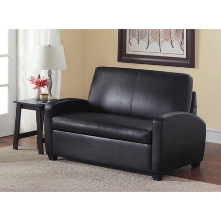 Surprising Mainstays 54 Faux Leather Loveseat Sleeper Black Gmtry Best Dining Table And Chair Ideas Images Gmtryco