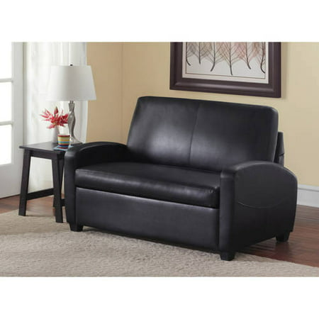 Astounding Mainstays 54 Faux Leather Loveseat Sleeper Black Unemploymentrelief Wooden Chair Designs For Living Room Unemploymentrelieforg