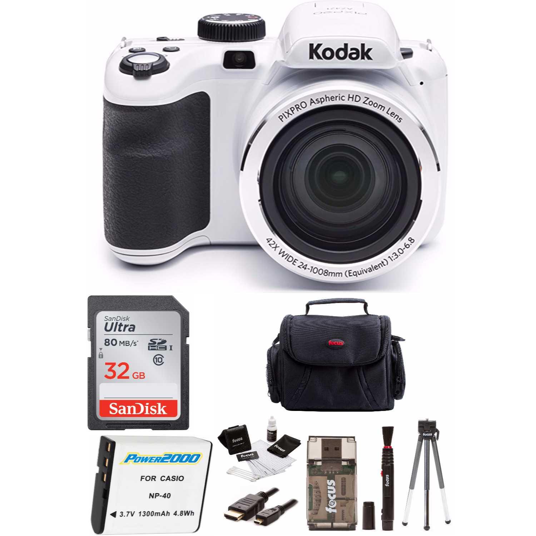 KODAK PIXPRO AZ421 16MP Digital Camera (White) + 32GB Memory Card + Accessory Bundle