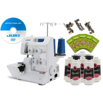 juki garnet line mo-644d 2-needle, 2/3/4 thread serger package w/ free 3-foot kit, 50 needles, 8 thread cones & instructional dvd