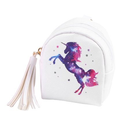 Unicorn Mini Coin Purse Zipper Bag Keychain Cute Wallet Pouch (Unicorn White)