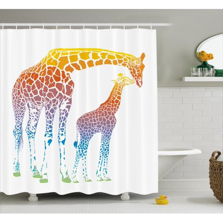 Giraffe Shower Curtain, Mom Kid Giraffe in Rainbow Colors Abstract Art Surrealist Image of African Animal, Fabric Bathroom Set with Hooks, Multicolor, by Ambesonne ()