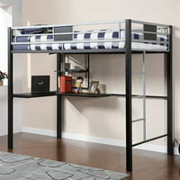 Contemporary Full Size Loft Bed With Workstation And Side Ladders, Silver, Black