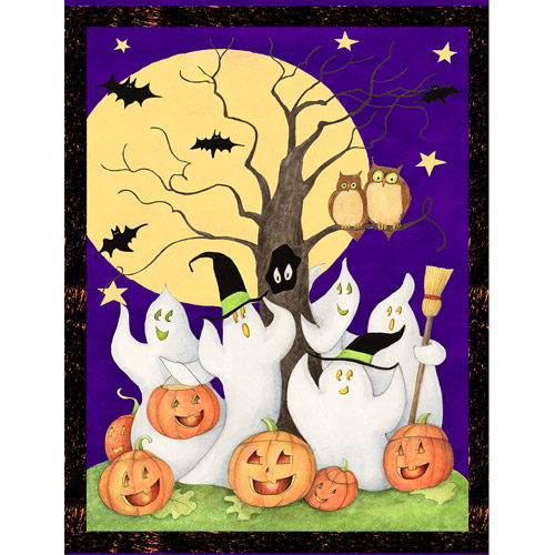 """Halloween Ghost Story, Purple, 43/44"""" Wide, Fabric by the Yard"""