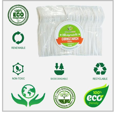 Potato Starch Fork - Forks - by EcoMojiWare.com - Certified Compostable Biodegradable Cutlery (100 count) made from Corn Starch Forks
