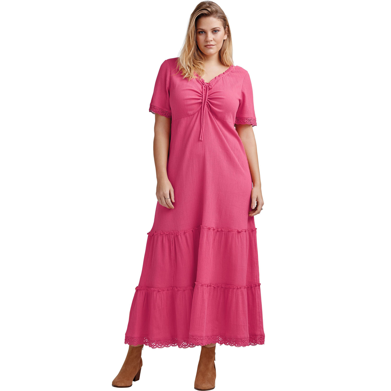 Ellos - Plus Size Gauze Maxi Dress - Walmart.com