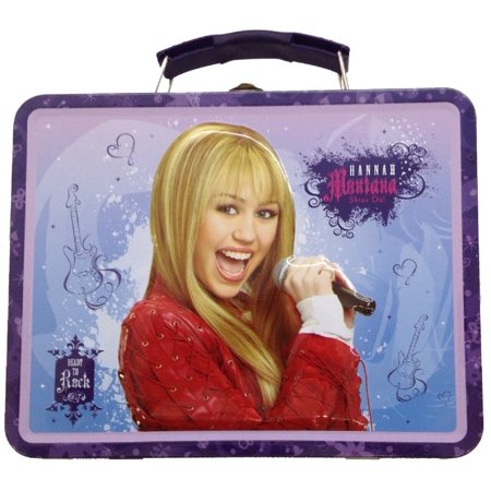 - Hannah Montana Square Tin Stationery Small Lunchbox Lunch Box - Purple