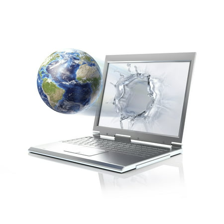 Planet Earth globe coming out from a laptop computer Stretched Canvas - Leonello CalvettiStocktrek Images (16 x 13)