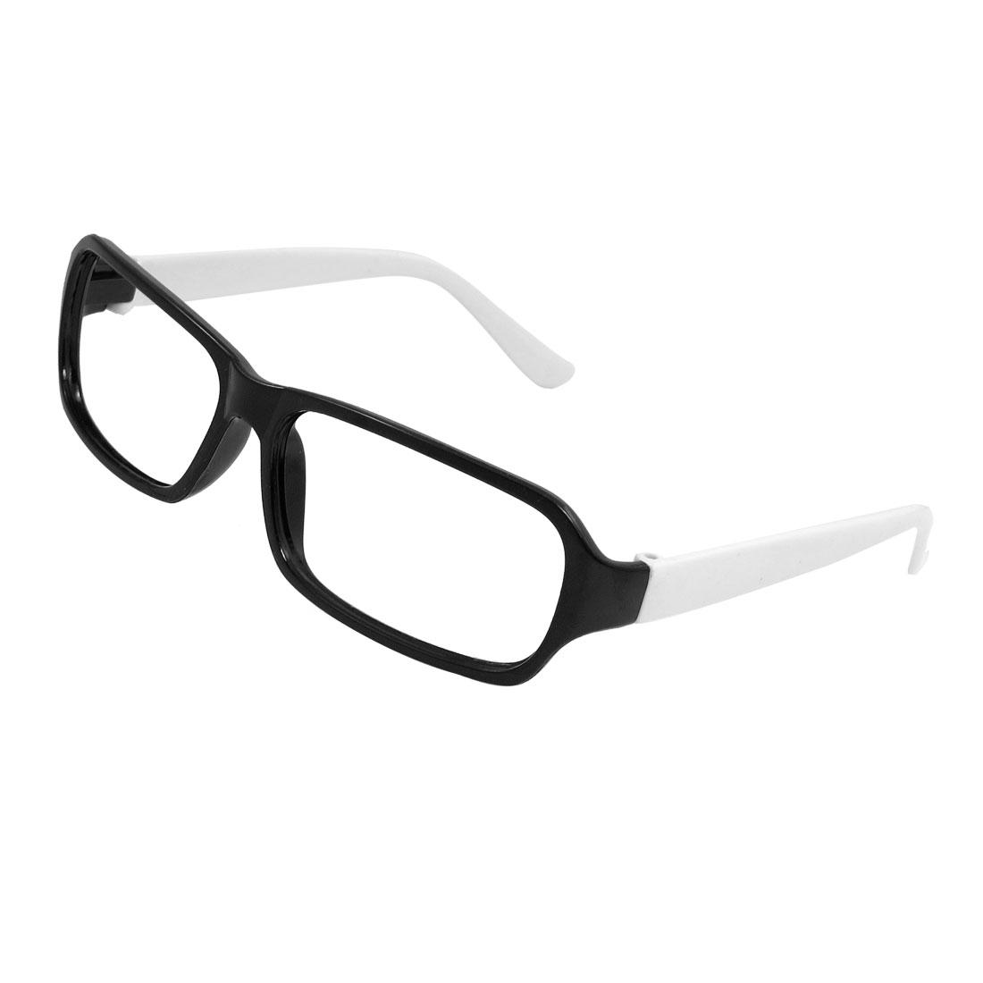 Woman Ladies Plastic Full Frame Eyeglasses Frame Black White