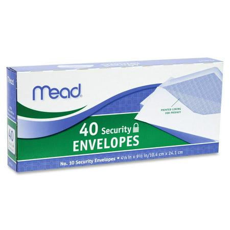 Mead #10 Security Envelopes, White, 40 (White Envelope)