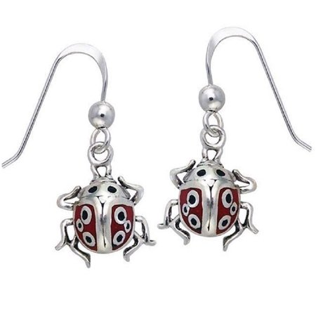 Red and Black Enamel Ladybug Detailed Sterling Silver Dangling Hook Earrings