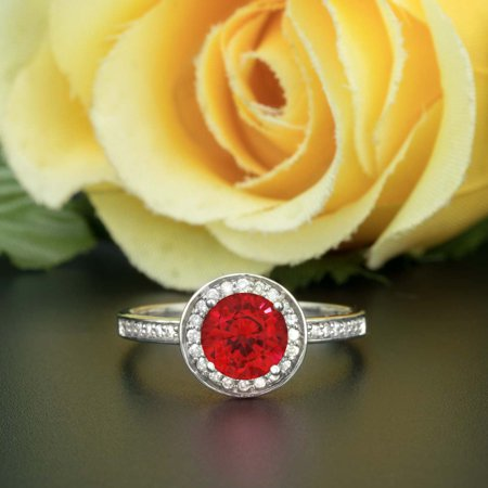 Art Deco 1.25 Carat Round Cut Real Ruby and Diamond Engagement Ring in 18k Gold Over Sterling Silver