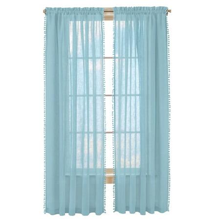 Wallace Pom-Pom Trim Linen-Like Curtain Panel, 52