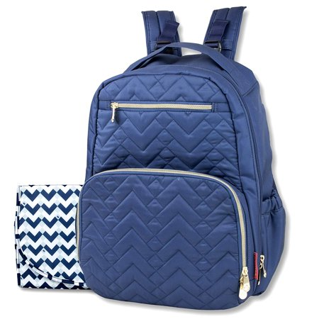 Fisher-Price Baby Diaper Bag & Backpack, Stroller Hook, 5 Baby Bottle Holder, Large Capacity, Lightweight, Baby Changing Mat & Easy to Clean, Morgan, Navy