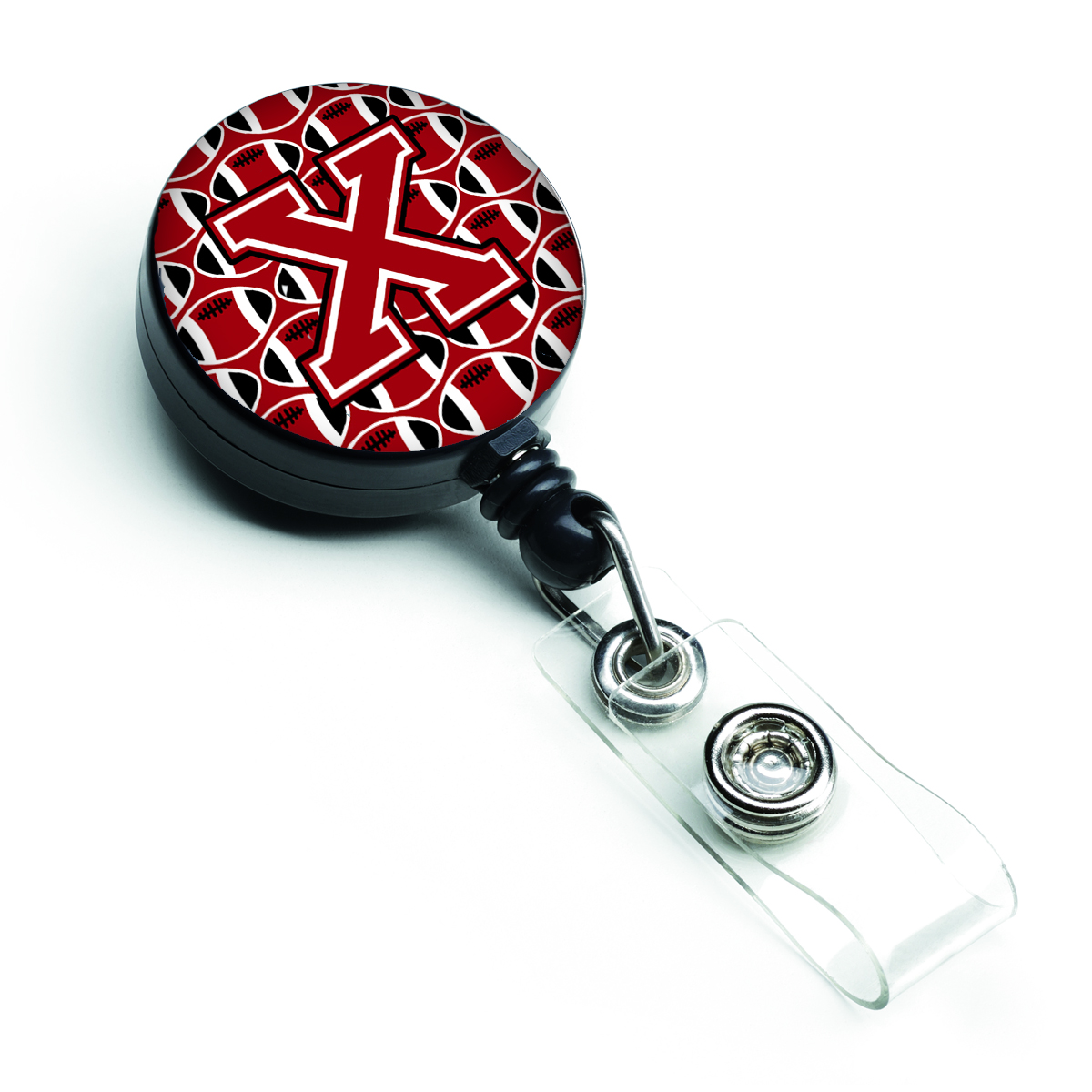 Letter X Football Red, Black and White Retractable Badge Reel CJ1073-XBR