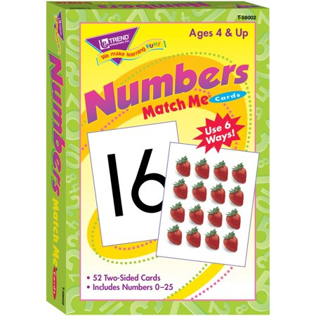Cart Multi Pack - Trend, TEP58002, Numbers Match Me Flash Cards, 52 / Pack, Multi