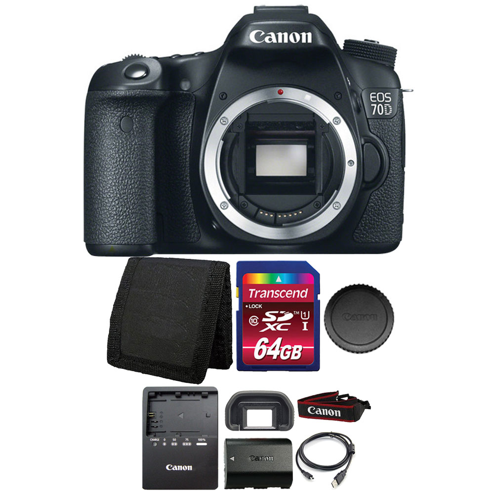 Canon EOS 70D 20.2MP Digital SLR Camera with 64GB Memory ...
