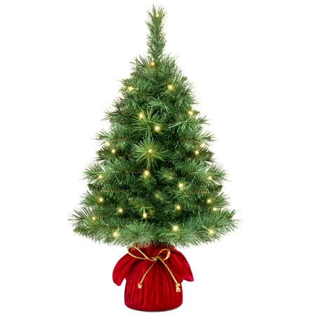 Best Choice Products 26-inch Pre-Lit Tabletop Fir Artificial Christmas Tree Decor with 35 Warm White LED Lights, Timer,