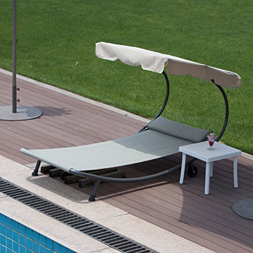 Abba Patio Outdoor Portable Chaise Lounge Chair Hammock Bed With Sun Shade  And Wheels   Walmart.com