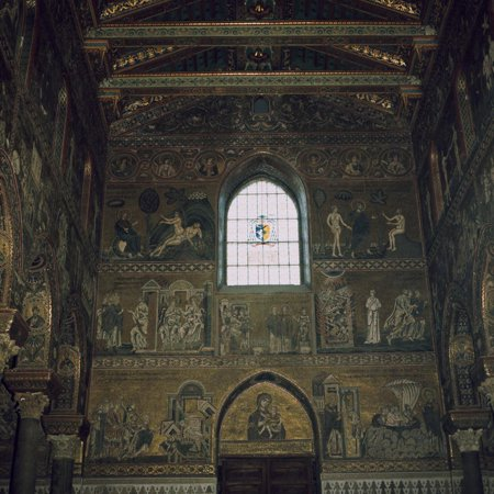 Mosaics above the west door of the Cathedral in Monreale, 12th century Print Wall Art ()