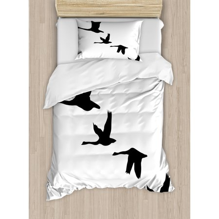 Freedom Twin Size Duvet Cover Set, Silhouette of Group of Flying Birds Gulls in the Sky Season Migration Themed Image, Decorative 2 Piece Bedding Set with 1 Pillow Sham, Black White, by Ambesonne
