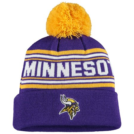 Minnesota Vikings Winter Hat (Minnesota Vikings Youth Jacquard Cuffed Knit Hat with Pom - Purple -)