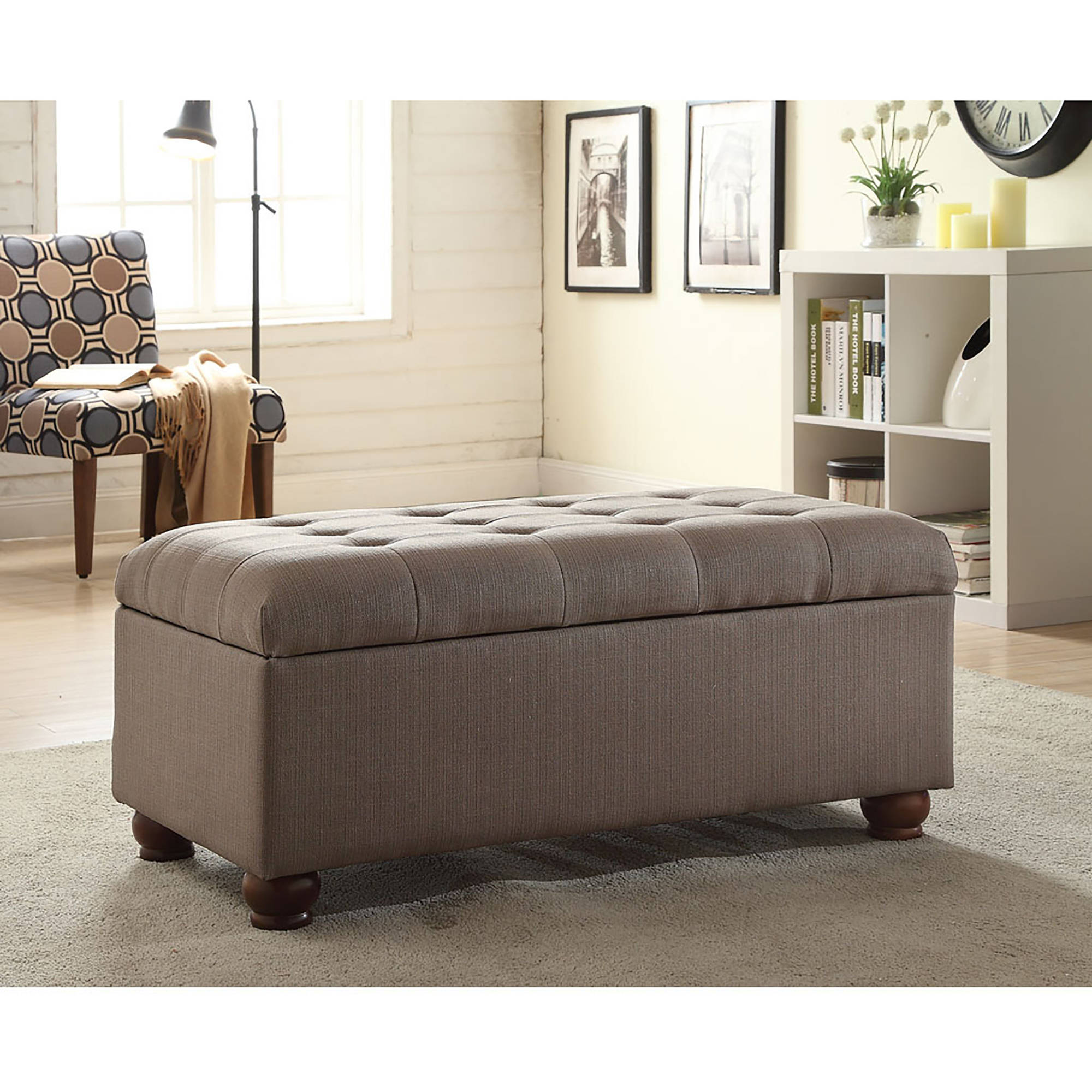 "Tufted 40"" Storage Bench with Turned Legs, Dolphin Gray"