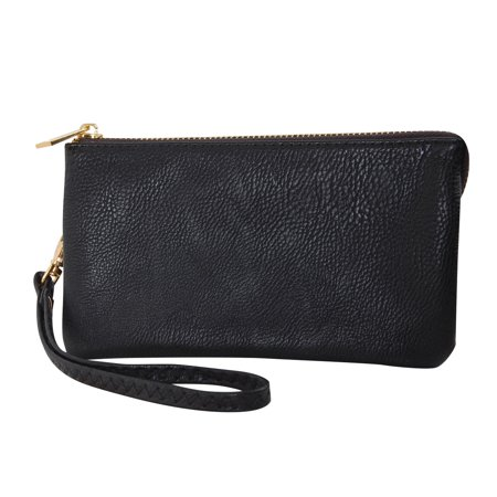 - Vegan Leather Wristlet Wallet Clutch Bag - Small Phone Purse Handbag, by Humble Chic NY