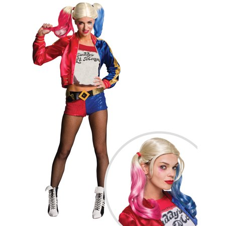 Adult Suicide Squad Harley Quinn Costume and Suicide Squad Harley Quinn's Adult Wig (Harley Quinn Arkham Asylum Costume For Sale)