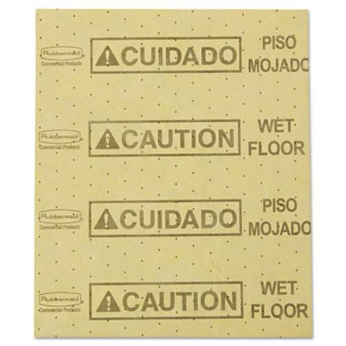 "Rubbermaid 4252YEL Over-the-spill Pad, ""caution Wet Floor"", Yellow, 16 1/2"" X 20"", 25 Sheets/pack"