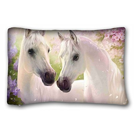WinHome White Horse Pink Paradise Custom Pillowcase Pillow Sham Queen Size Pillow Cushion Case Cover Two Sides Printed 20x26 Inches Size 20x30 Inches Two Sided Print ()