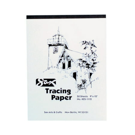 Sax Tracing Paper Pad, 25 lbs, 9 x 12 Inches, White, 50 Sheets 12 Tracing Paper Pad