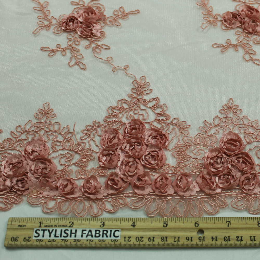 Coral Corded Lace Fabric with  Floral Embroidery Beaded Lace with Double Scallop Edge Wedding