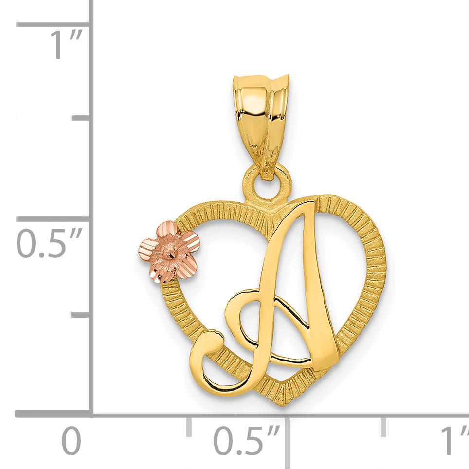 14k Two Tone Yellow Gold Initial Monogram Name Letter A In Heart Pendant Charm Necklace Fine Jewelry Gifts For Women For Her - image 1 of 2