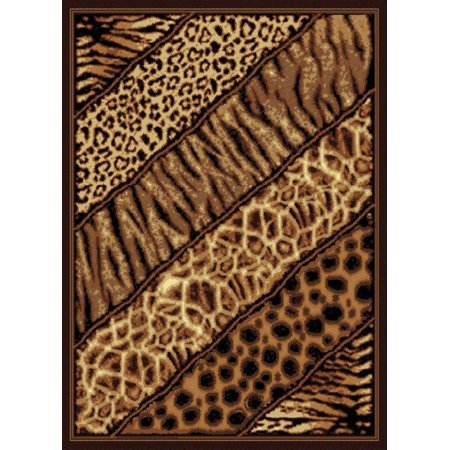 Designer Home Epoch Area Rugs - 910-03150 Novelty Black Animal Prints Leopard Tiger Rug 5' 3