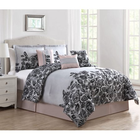 11 Piece Betha Blush Gray Black Bed In A Bag W 600tc