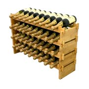 DECOMIL - 36 Bottle Stackable Modular Wine Rack Wine Storage Rack Solid Bamboo Wine Holder Display Shelves, Wobble-Free (Four-Tier, 36 Bottle Capacity)
