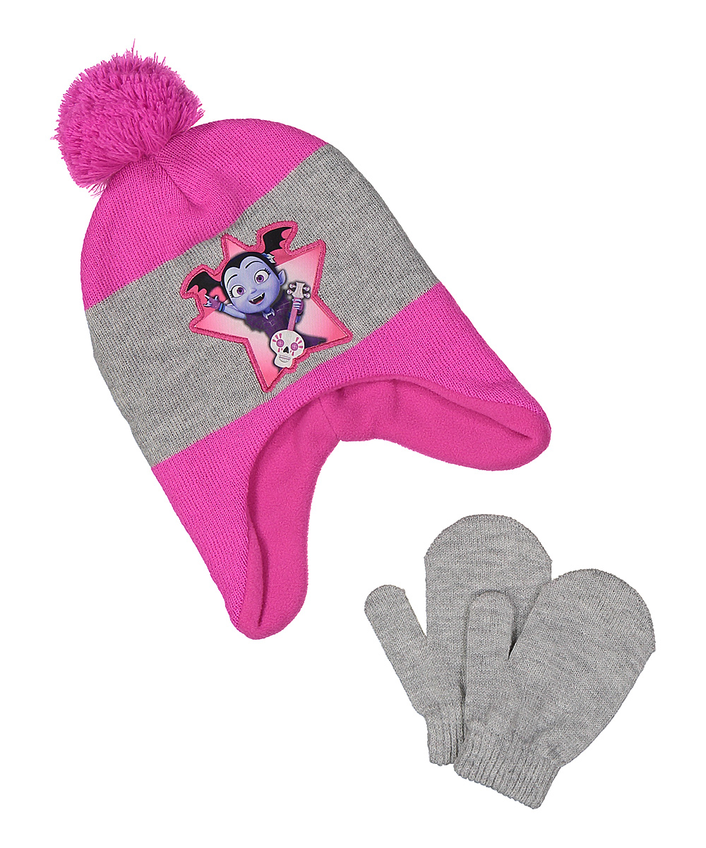 Disney Junior Vampirina Girls' Earflap Beanie Hat and Mittens Set, Pink/Grey, One Size - Toddler