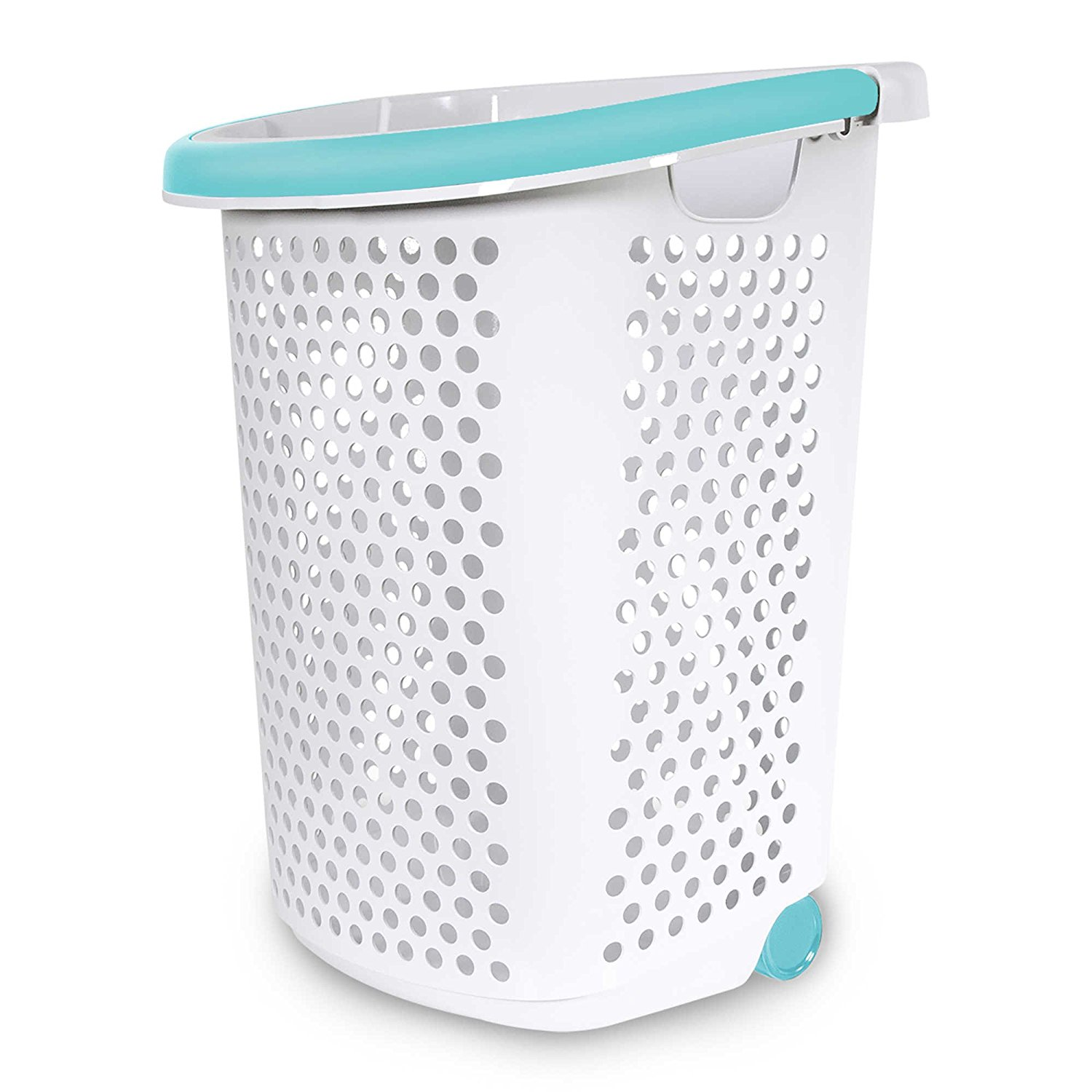 rolling laundry hamper container bin storage in white features popup