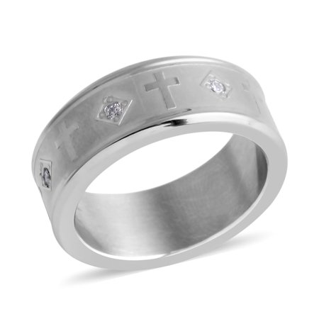 Band Ring Stainless Steel Round Crystal Gift Jewelry for Mens