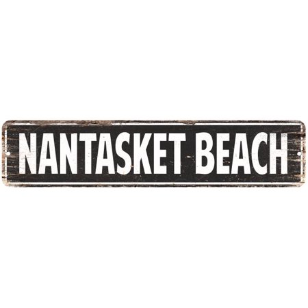 Personalized Beach Signs (Nantasket Beach Vintage Look Personalized Metal Sign Chic 4x18)
