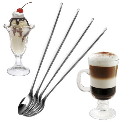 6Pcs Stainless Steel Long Drink Ice Cream Coffee Cocktail Teaspoon Spoon Kitchen