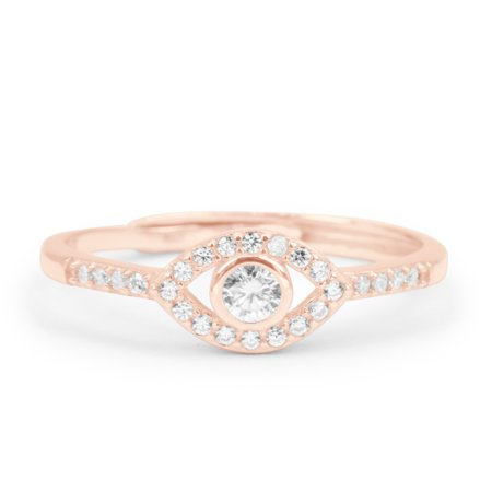 .25 Carat Round Brilliant Real Diamond Evil Eye Promise Ring in 10k Rose Gold