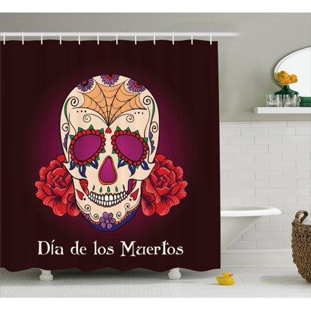 De Los Plum - Day Of The Dead Shower Curtain, Dia de Los Muertos Quote Spanish Skull Dead Head Skeleton Vivid Print, Fabric Bathroom Set with Hooks, Plum Red Cream, by Ambesonne