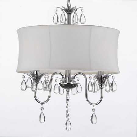 White Drum Shade Crystal Ceiling Chandelier Pendant Light Fixture Lighting Lamp
