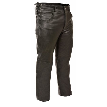 Milwaukee Leather - Mens Deep Pocket Over Pants - Side Lace Fit Adjustment - Black - Size XL