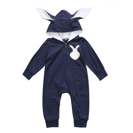 Baby Boys Girls Long Sleeve Rabbit Bunny Ears Hoodies Zipper Romper Jumpsuit (0-6M, Navy Blue)
