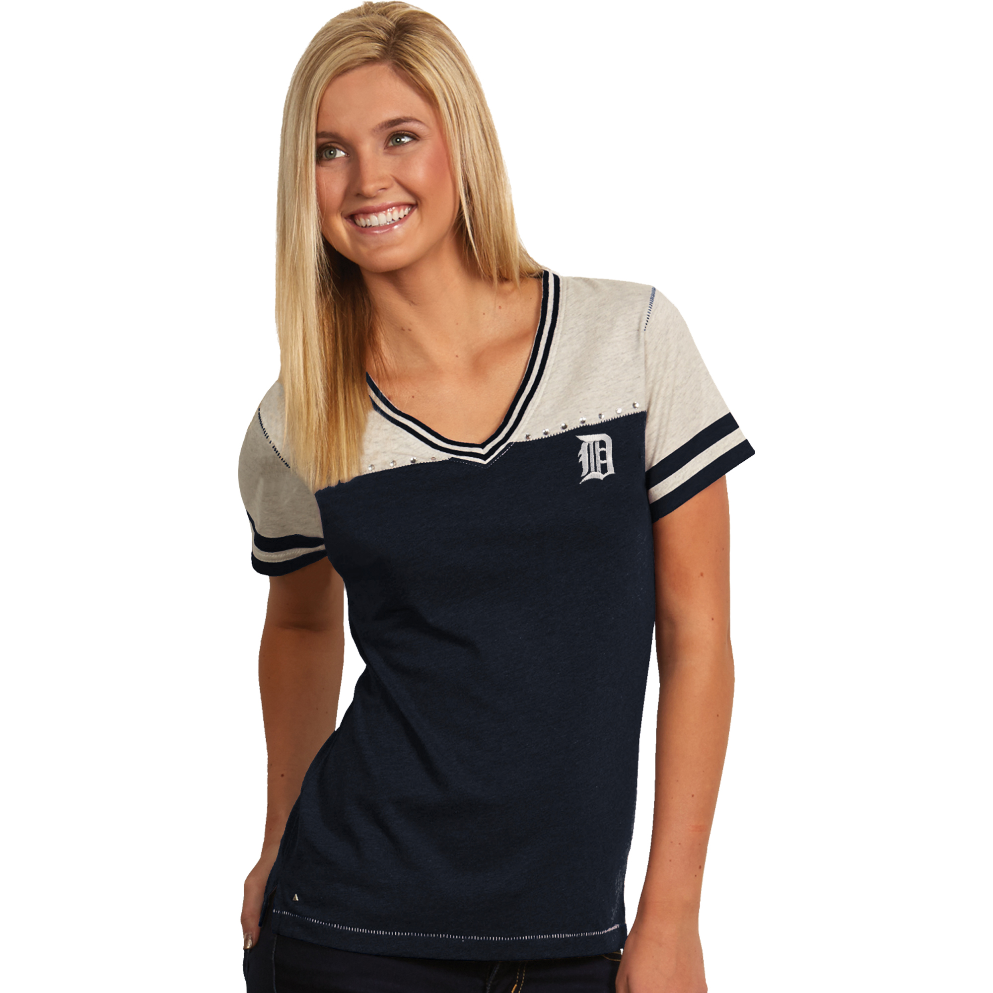 Detroit Tigers Antigua Women's Energize V-Neck T-Shirt - Navy