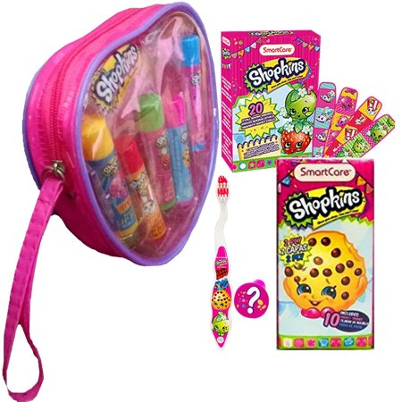 Beauty & Care Travel Gift Set For Girls - 5 Lip Balms in Cool Reusable Carry Case with Toothbrushes, Toothbrush Travel Holder, Tissues & Plasters,.., By Shopkins Ship from - Cool Brush Maquillaje Halloween