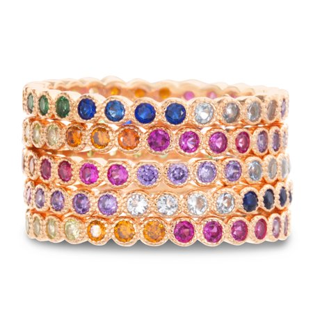 - Multicolored Cubic Zirconia Round Eternity Stackable Ring Set in Rose Gold Plated Sterling Silver